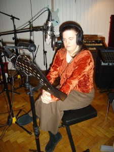 Aine recording 'The Secret's Daughter' at a London recording studio